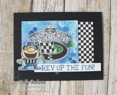 YNS Supplies:  Rev Up the Fun Stamp and Die Set   | Black Olive Ink Pad  | Blueberry Breeze Ink Pad| Checkered Edge Stamp | Stitched Rectangle Die Set | Love Earth Gumdrops
