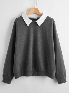 Girls Fashion Clothes, Teen Fashion Outfits, Cool Outfits, Collared Sweatshirt, Sweatshirt Outfit, Cropped Hoodie, Hogwarts, Oversized Shirt, Hooded Sweatshirts