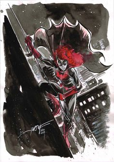 Day 25 - Batwoman inkwash on A4 canson paper
