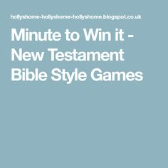 Minute to Win it - New Testament Bible Style Games