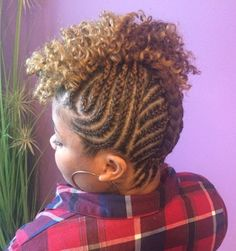 Nape-to-Forehead Natural Braided Mohawk