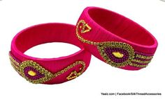 Yaalz Peacock Design Partywear Bangles in Pink Color
