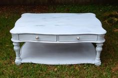 Hand painted baby blue antique coffee table