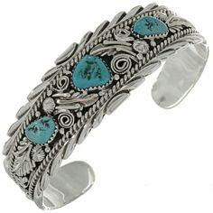 Sleeping Beauty Turquoise Silver Bracelet Navajo Ladies Cuff