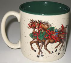 Potpourri Press Horse Drawn Carriage Christmas Coffee Mug Vintage 1987