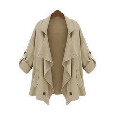 SheIn(sheinside) Khaki Lapel Half Sleeve Asymmetrical Pockets... ($23) ❤ liked on Polyvore featuring outerwear, coats, jackets, sheinside, khaki, short coat, brown coat, khaki coat, pocket coat and single-breasted trench coats
