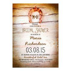 rustic horseshoe wood bridal shower invitation