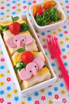 Elephant sausage bento Kawaii Bento, Cute Bento, Cute Snacks, Cute Food, Bento Recipes, Baby Food Recipes, Healthy Meals For Kids, Kids Meals, Anime Bento