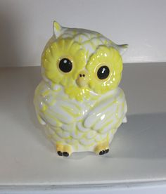 Ceramic Owl Bank Piggy Bank   Yellow and White by StrokesofMadness, $12.50