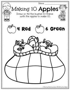 Apple Bushel: Make 10 - Apple Worksheets Preschool