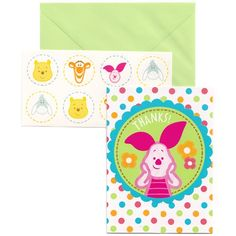 Thank all your guests with the charming artwork featured these colorful Pooh Little Hunny Thank You Cards!  The gatefold style thank you card features colorful polka dots surrounding a green circle featuring a �Thanks!� headline and an adorable image of Piglet.  Cards measure 5.5 inches by 4 inches and are sold 8 per package.  Green envelopes with seals featuring Tigger are included.