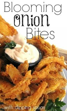 Blooming Onion Bites w/ Dipping Sauce Recipe! (this is much more do-able tha. Blooming Onion B Finger Food Appetizers, Appetizer Recipes, Vegetable Dishes, Vegetable Recipes, Food Blogs, Blooming Onion Recipes, Outback Blooming Onion Sauce, Blooming Onion Dipping Sauce Recipe, Vidalia Onion Recipes