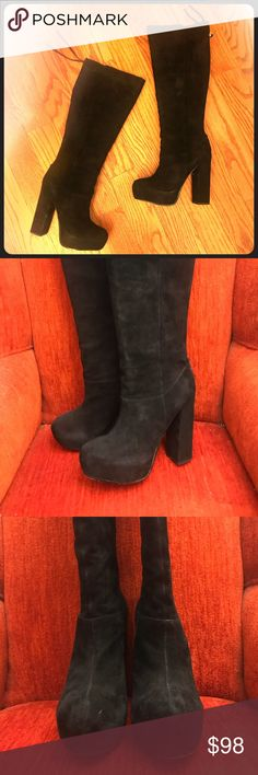 """Dolce Vita Free People Suede Heel Knee-high Boots LIKE NEW! Worn only twice. *DOLCE VITA JULES SUEDE PLATFORM BOOTS* Gorgeous platform boot with zipper back closure with fringe zipper pull. Embrace your inner Stevie Nicks 🖤 By Dolce Vita Suede Import 8"""" Opening Diameter *1"""" Platform, 5 1/2"""" Heel  Size 8.5 Comes with original box with dust bags A little wear on left back zipper as shown in photos and reflected in price Dolce Vita Shoes Heeled Boots"""