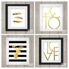 Need ideas for your gallery wall? These #modernminimalist wall prints are ready to download print and hang! Follow link in bio @designgenes.  #gallerywallideas #printablewallart #walldecor #goldandblack #goldprints #printablewallart #greetingcards #personalizedmugs #coffeemugs #designgenes