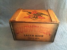 A personal favorite from my Etsy shop https://www.etsy.com/listing/259297408/budweiseranheuser-beer-wood-beer-crate Old Crates, Decorative Boxes, My Etsy Shop, Old Boxes, Home Decor Boxes, Old Wooden Crates