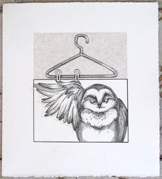 Lithography print. Tough Love. Owl art!  #welcometogirlworld