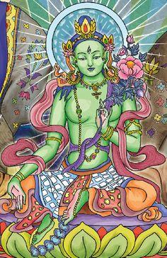 Green Tara by Coral Michelin, via Behance Tara Goddess, Goddess Art, Indian Goddess, Kerala Mural Painting, Indian Art Paintings, Silk Painting, Tibetan Art, Tibetan Buddhism, Tibetan Tattoo