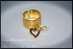Chevalier Ring Heart with Pearl Sterling by LakasaEshopDesign