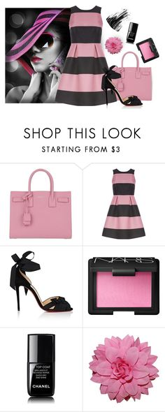 """""""pink and black"""" by art-gives-me-life ❤ liked on Polyvore featuring Yves Saint Laurent, Luxe, Christian Louboutin, NARS Cosmetics, Chanel, Marc Jacobs and contestentry"""