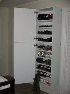 Shoe Storage Cabinet with Doors 2020 Super modern facade and also minimal entrance are first thing that orders your interest while you're coming close to shoe storage cabinet with doors. ... Shoe Shelf Ikea, Shoe Organizer Ikea, Shoe Storage Cabinet With Doors, Garage Shoe Storage, Shoe Storage Hacks, Ikea Storage Cabinets, Garage Storage Solutions, Shoe Shelves, Shoe Cabinet
