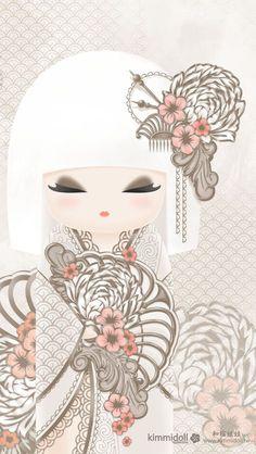 "Diamond Wallpapers : Kimmidoll™ Akiyo - ""Enlightenment"" - Buy Me Diamond Momiji Doll, Kokeshi Dolls, Diamond Wallpaper, Asian Doll, Japan Art, Japan Design, Cute Images, Cute Illustration, Chinese Art"