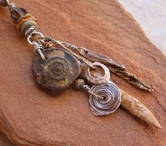 Primitive Fossil, Sterling and Bronze Amulet, Handmade Beads on Leather Cord