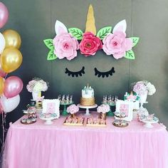 What a stunning Unicorn Birthday Party!! The dessert table is amazing!! See more party ideas and share yours at CatchMyParty.com #unicorn #birthdayparty