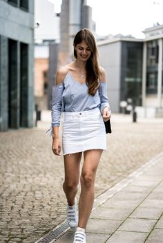 What to wear in summer? Here is an outfit inspiration for you guys: Cut Out Shirt and white Denim Skirt. More outfit details are up on my fashion blog