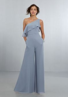 Bridesmaid Gowns Morilee Bridesmaids 21574 One Shoulder Chiffon Bridesmaid Jumpsuit - Chic, One-Shoulder Jumpsuit with Wide Legs and Soft Front and Back Flounce, Finished Off with a Back Zipper. Mori Lee Bridesmaid Dresses, Dessy Bridesmaid, Blue Bridesmaids, Bridesmaid Jumpsuits, Bridesmaid Outfit, Wedding Dresses, Alternative Bridesmaid Dresses, Bridal Gowns, Wedding Frocks