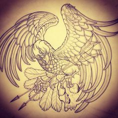 Tattoo Artwork by Jessica Mascitti at Graceland Brooklyn Hair & Tattoos. Love this bird (minus the skull)! Tattoo Sketches, Drawing Sketches, Tattoo Drawings, Eagle Tattoos, Wolf Tattoos, Celtic Tattoos, Hair Tattoos, Sleeve Tattoos, Aquarell Phönix Tattoo