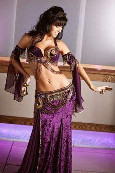 Purple Velvet with gold accents cabaret costume. Beautiful!
