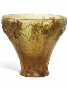 "Almeric Walter & Henri Bergé / pâte de verre ""Pine Cone"" vase /"