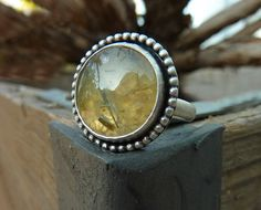 Prehnite ring Gemstone ring cocktail ring Sterling by anakim, $105.00