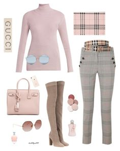 """Feminine & beautiful..."" by katelyn999 ❤ liked on Polyvore featuring Prada, Veronica Beard, Gianvito Rossi, Yves Saint Laurent, Burberry, Linda Farrow, LunatiCK Cosmetic Labs, Parfums de Marly, For Art's Sake and Gucci"