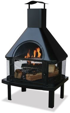 $199.99 - This charming wood burning fireplace is perfect for your front and backyard!  Simple to use and extremely useful, add tons of ambiance in your yard with this chiminea. - Free Shipping Camelot Living!