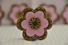 Set of 6pcs handmade felt flowerchocolate/baby pink by AsecInc