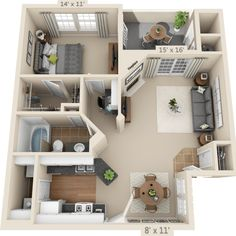 15 Best Studio Apartment Layout that Really Work - futurian Sims House Plans, House Layout Plans, House Layouts, House Floor Plans, Sims 4 Houses Layout, Studio Apartment Layout, Apartment Design, Bedroom Apartment, Apartment Ideas