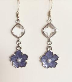 Dangle Earrings Drop Earrings Silver Orchid by JewelryByVogue