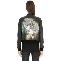 Php Women Hand-painted Leather Bomber Jacket ($1,850) ❤ liked on Polyvore featuring outerwear, jackets, black, 100 leather jacket, zip front jacket, flight jacket, blouson jacket and leather flight jacket