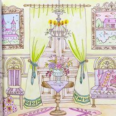 「マグレイユ城の執務室」塗ってみました〜 #コロリアージュ#coloriage#coloringbook#adultcoloringbook#大人の塗り絵#ロマンティックカントリー#romanticcountry#油性色鉛筆