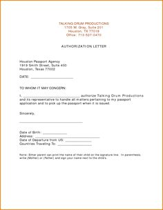 Authorization Letter For Passport Pickup Pdf Sample Claiming