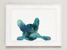 Blue Frenchie Giclee Art Print Dog Silhouette by Silhouetown