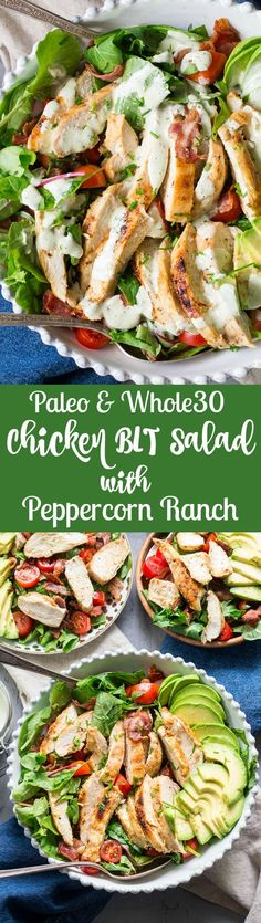 This grilled chicken BLT salad includes all your favorites - crispy bacon perfectly seasoned grilled chicken cherry tomatoes and avocado! It's topped with a healthy paleo & friendly peppercorn ranch that might just become your new favorite sala Chicken Blt, Grilled Chicken, Chicken Recipes, Healthy Chicken, Salad With Chicken, Ranch Chicken, Paleo Recipes, Real Food Recipes, Cooking Recipes