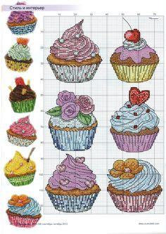 cross stitch - cupcakes