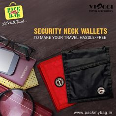 Security neck wallets at#packmybagmakes carrying cash and travel documents easy while traveling. Check out the ultra slim and multi-pocketed travel neck wallets. Order now -http://bit.ly/neckwallets