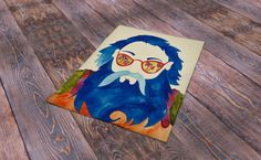 Blue beard hippie hipster guy with mushroom sunglass. Original watercolor painting it is not a print. by Trippyhandmades on Etsy