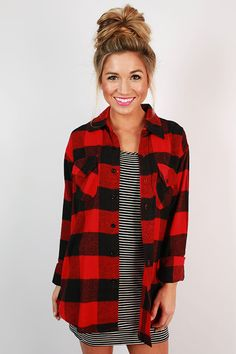 This classic flannel button down is the perfect addition to your fall wardrobe!