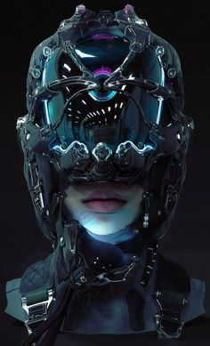 Find images and videos about art, futuristic and cyberpunk on We Heart It - the app to get lost in what you love. Arte Cyberpunk, Cyberpunk 2077, Cyberpunk Aesthetic, Cyberpunk Girl, Chat Steampunk, Style Steampunk, Futuristic Helmet, Futuristic Art, Arte Sci Fi
