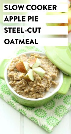 This Slow Cooker Apple Pie Steel-Cut Oatmeal makes the perfect, hands-off healthy breakfast for Fall. Just throw in the Slow Cooker and you have breakfast ready for you when you wake up. #slowcooker #applepieoatmeal #oatmeal #steelcutoats #glutenfree #vegan Easy Brunch Recipes, Good Healthy Recipes, Breakfast Recipes, Steel Cut Oatmeal, The Healthy Maven, Recipe Maker, Slow Cooker Apples, Healthy Slow Cooker, Breakfast Items
