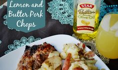 Lemon Butter Pork Chops With Rosemary Potatoes Recipe // Star Butter Flavored Olive Oil #shop #cbias